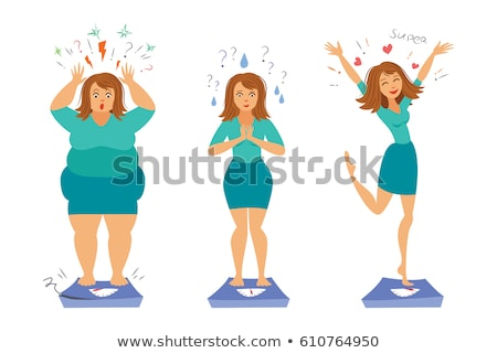 Sad Young Fat Girl On The Scales, Happy Slim Girl On The Scales Vector. Before, After Diet. Isolated Stock photo © pikepicture