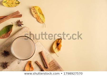 chocolade · koffie · kaneel · bloem · gele · bloem - stockfoto © yuliyagontar