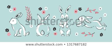 Rajz húsvéti nyuszi álmodik illusztráció nyuszi mosolyog Stock fotó © cthoman