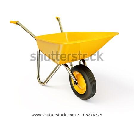 metal wheelbarrow with orange construction tools 3d stock photo © djmilic