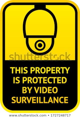 ビデオ · サーベイランス · にログイン · 警告 · ステッカー · テレビ - ストックフォト © ecelop