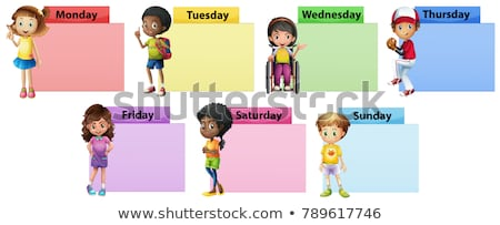 Seven days of the week note template with kids Stock photo © colematt