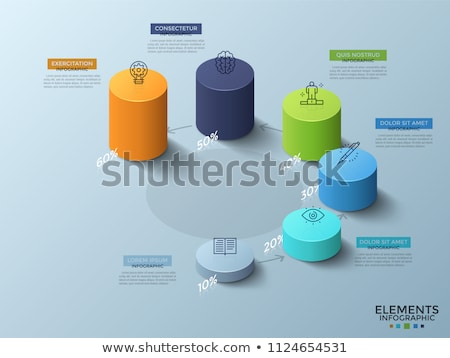 colorful arrows cylinder chart 3d stock photo © djmilic