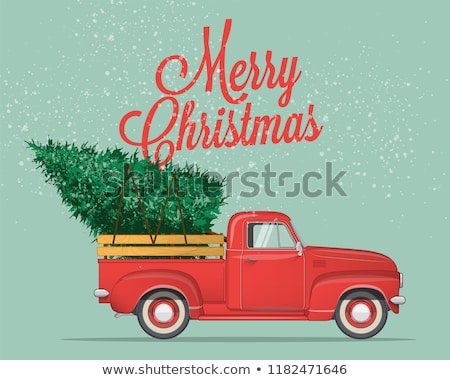 Foto stock: Vector · Cartoon · retro · Navidad · camión