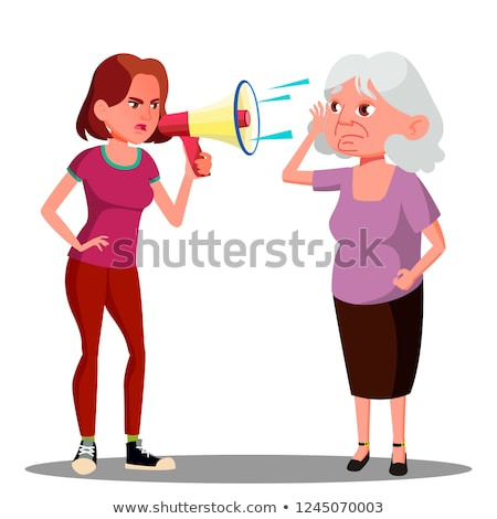 Girl Screaming To Hearing Impaired Elderly Woman Vector. Isolated Cartoon Illustration Stock photo © pikepicture