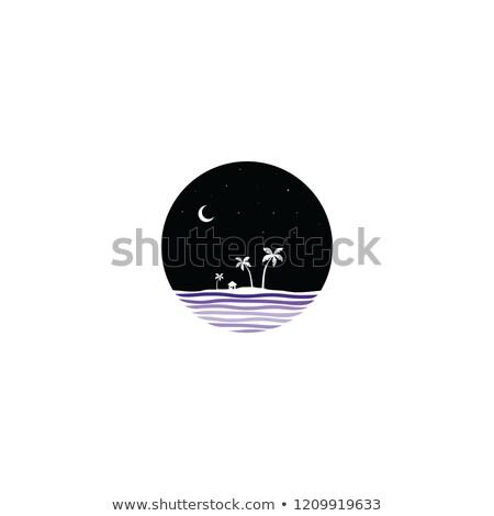 midnight scene island sign symbol stock photo © vector1st