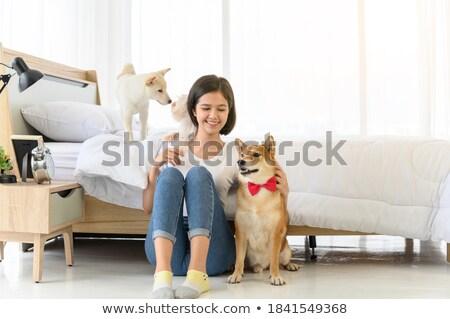 Stockfoto: Drie · meisjes · huisdier · hond · slaapkamer · illustratie