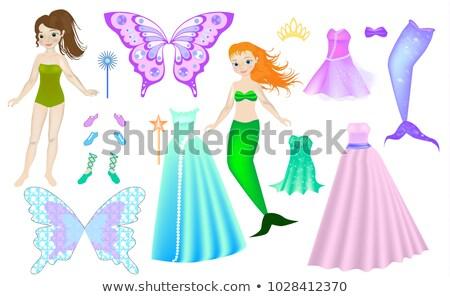 Mooie weinig zeemeermin spel sjabloon illustratie Stockfoto © colematt