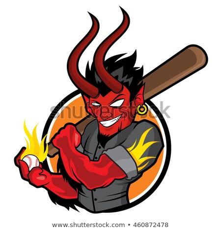 Cartoon diabeł baseball ilustracja gry szczęśliwy Zdjęcia stock © cthoman