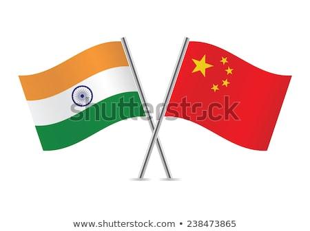 Çin · Hindistan · bayrak · karışık · üç · boyutlu · vermek - stok fotoğraf © mikhailmishchenko