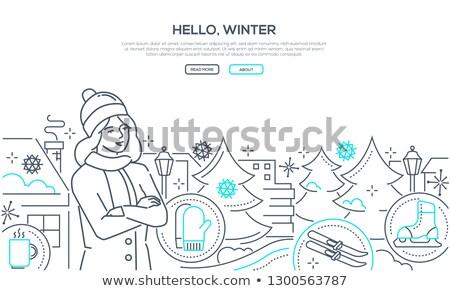 привет зима современных линия дизайна стиль Сток-фото © Decorwithme