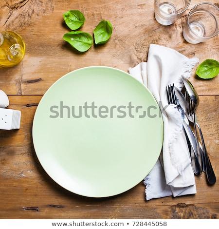 üres tányér evőeszköz vacsora kőfal kilátás Stock fotó © karandaev