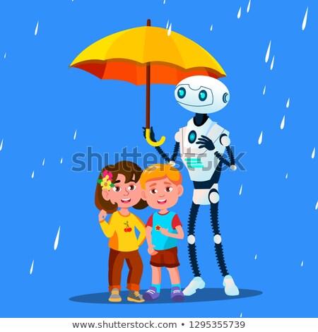 Robot açmak şemsiye küçük çocuk yağmur Stok fotoğraf © pikepicture