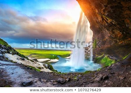 Waterval regenboog IJsland zomer landschap rivier Stockfoto © Kotenko