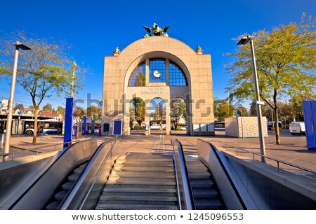Town of Lucerne old train station arch with welome sign view Stock photo © xbrchx