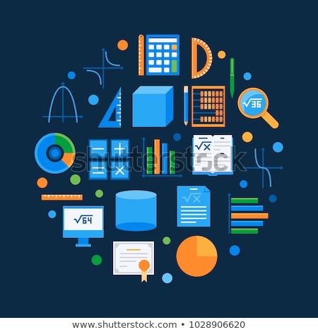 algebra flat icons set stock photo © netkov1