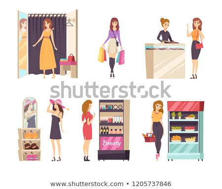 Shopping Choosing Dress and Cosmetics Set Vector Stock photo © robuart