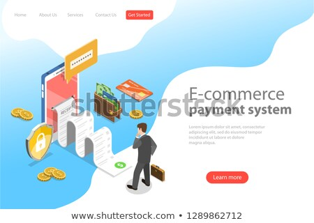 flat isometric vector landing page template of e commerce payment system stock photo © tarikvision