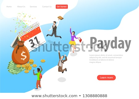 Flat isometric vector landing page template of salary, payout, bonus. Stock photo © TarikVision