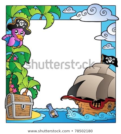 пиратских · судно · баннер · иллюстрация · фон · птица - Сток-фото © clairev
