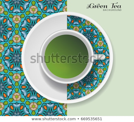 Sketch mug of coffee on a saucer. Seamless pattern. Stock photo © Arkadivna