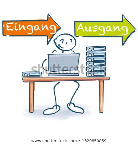 Stick figure сидят служба таблице файла вход Сток-фото © Ustofre9
