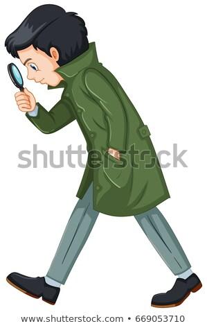 Detective in green overcoat holding magnifying glass Stock photo © colematt