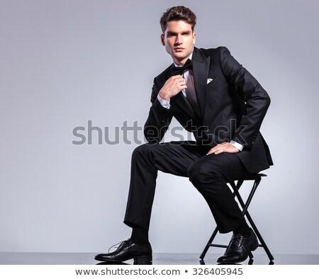 ストックフォト: エレガントな · 男 · 座って · 椅子 · 見える