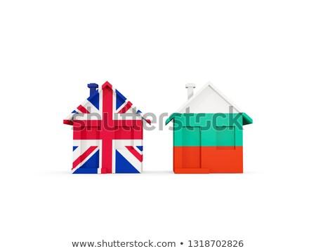 Iki evler bayraklar Büyük Britanya Bulgaristan yalıtılmış Stok fotoğraf © MikhailMishchenko