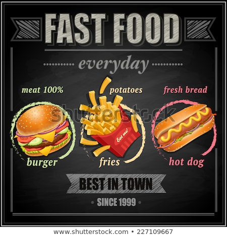 Fast food hot dog maaltijd poster tekst Stockfoto © robuart