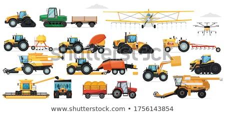 tractor and grain trailer set vector illustration stock photo © robuart