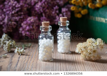 Two bottles of homeopathic pills with dried herbs and materia medica Stock photo © madeleine_steinbach