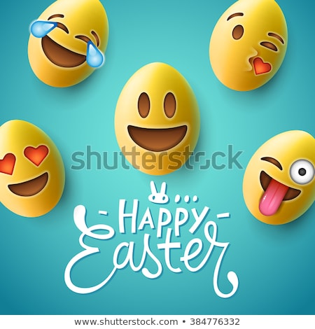 Happy Easter poster, easter eggs with cute smiling emoji faces, vector illustration. Stock photo © ikopylov
