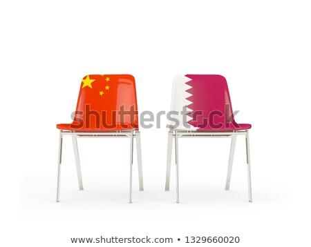 Dwa krzesła flagi Chiny Katar odizolowany Zdjęcia stock © MikhailMishchenko
