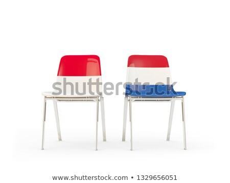 Twee stoelen vlaggen Indonesië Nederland geïsoleerd Stockfoto © MikhailMishchenko
