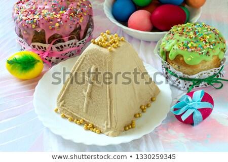 Paskalya kek boyalı yumurta süzme peynir rus Stok fotoğraf © orensila