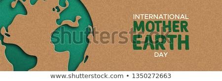 баннер · зеленый · бумаги · планеты - Сток-фото © cienpies