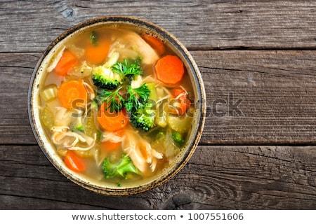 Groentesoep kom voedsel nieuwe Stockfoto © dolgachov