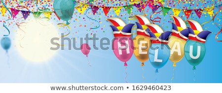 Carnival Banner Colored Balloons Confetti Jester Caps Stock photo © limbi007