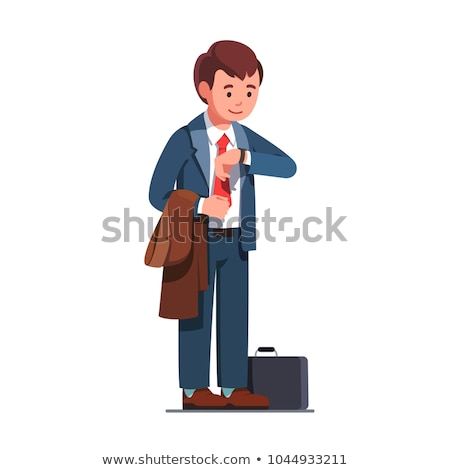 Smiling business man with briefcase looking at wristwatch Stock photo © deandrobot