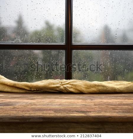 Regenachtig dag illustratie hemel weg Stockfoto © colematt