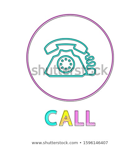 Call Web Button Linear Bright Outline Template Stock fotó © robuart