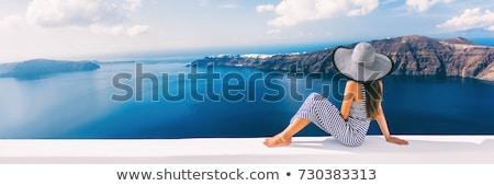 meisje · Blauw · jurk · balkon · vakantie · vrouw - stockfoto © ElenaBatkova