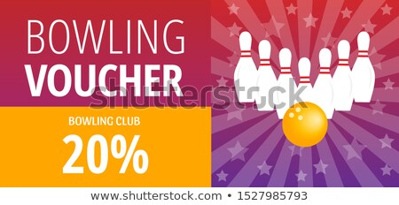 Yellow Coupon On Bowling Game Template Vector Stock photo © pikepicture