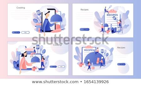 Alimentare blogging atterraggio pagina modello minuscolo Foto d'archivio © RAStudio