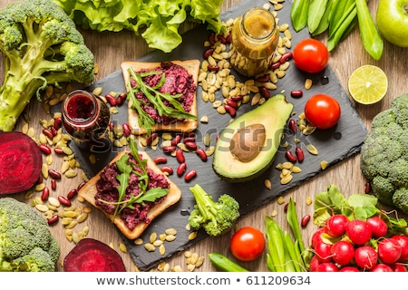 Stockfoto: Veganistisch · voedsel · groenten · kantoor · gezondheid · groene
