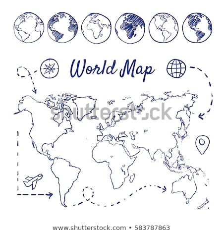 Stok fotoğraf: A Compass With Scribbled Icons