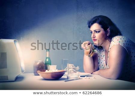Hamburguesa mesa grasa mujer de comida rápida blanco Foto stock © AndreyPopov
