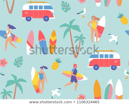 surfing board summertime icons vector illustration stock photo © robuart