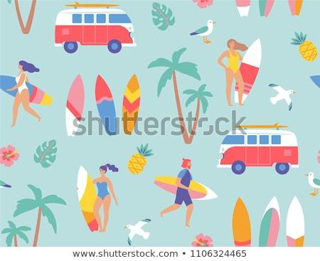 nyár · vízpart · vakáció · vektor · szett · nyitva - stock fotó © robuart